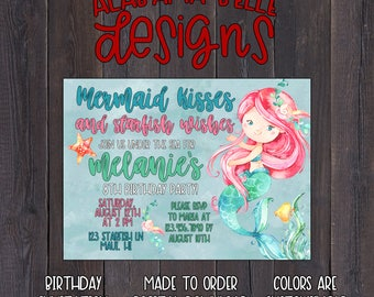 Mermaid Kisses & Starfish Wishes  | Birthday Invitation