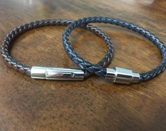 Mens Leather Bracelet With Magnetic Clasp - Men's Leather Bracelet, Custom Made To Your Wrist Size, Fathers Day Gift CS-14
