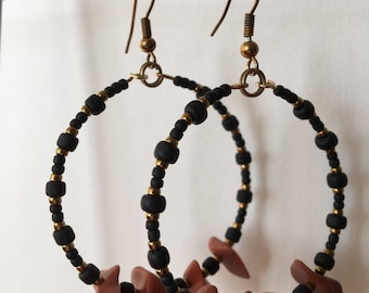 Gypsy Hoops. Matte Black, Old Gold and Red Jasper