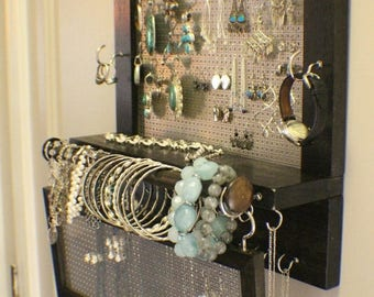 ON SALE You Pick the Stain Wall Mounted Jewelry Organizer with a Bracelet Bar and Stud Earring Holder, Jewelry Display, Earring Organizer
