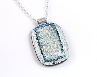 Fused Glass Pendant - Necklace Pendant, Dichroic Glass Pendant, Blue Pendant, Pendant for Woman, 925 Sterling Silver Bail