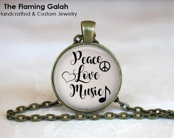 PEACE, LOVE, MUSIC Pendant •  Music Quote •  Gift for a Music Teacher •  Gift for a Musician • Gift Under 20 • Made in Australia (P1485)