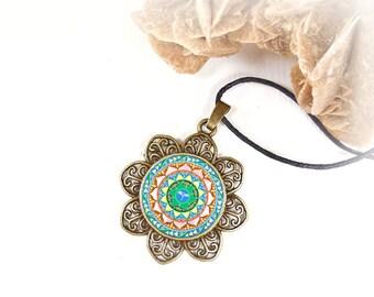 Mandala cabochon balance necklace, cheap jewel under 15 dollars, ethnic talisman locket, anniversary bestfriend gift, supernatural jewelry.