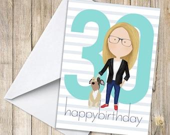 Custom 30th Birthday Card, 30th Birthday Gift, 30th Birthday for her, 30th Birthday for him, Printable Birthday Card, 3 birthday card