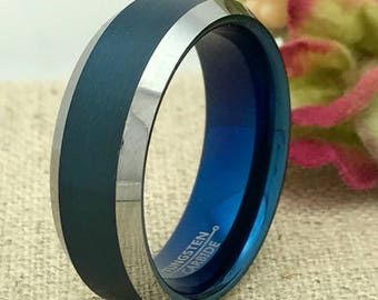 8mm Tungsten Wedding Ring, Personalized Engrave Blue IP Tungsten Wedding Ring, Father's Day Gift, Free Engraving TCR173
