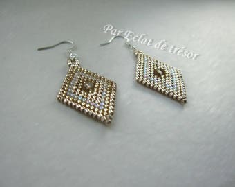 Gold diamond shaped beaded earrings
