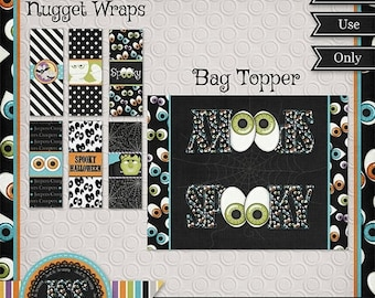 On Sale 50% Halloween Printables, Halloween Candy Wrapper, Halloween Party Favors, Bag Topper and Nugget Wrappers No 5 - INSTANT DOWNLOAD