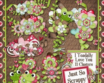 On Sale 50% I Toadally Love You Digital Scrapbook Kit Clusters - Digital Scrapbooking