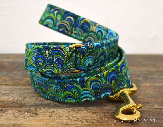 Leash for dog model Under the Sea. Handmade with 100% cotton fabric and webbing. Wakakan