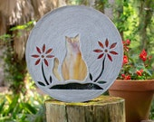"Orange Tabby Kitty Cat Stepping Stone Large 18"" Diameter Made with Concrete and Stained Glass, Perfect for Your Garden or Pet Memorial #805"