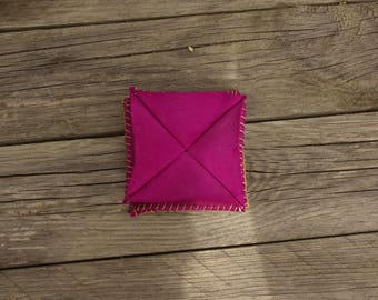 "Wallet ""Baldwin"" original pink and yellow leather"