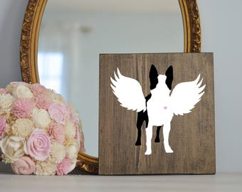 Boston Terrier Angel Wing Silhouette, Remembrance Sign, Dog Memorial, Loss of Dog, Boston Terrier Silhouette, Boston Terrier Dog