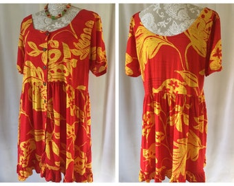 1990's red & yellow Jams World dress | Extra large | Style #W349