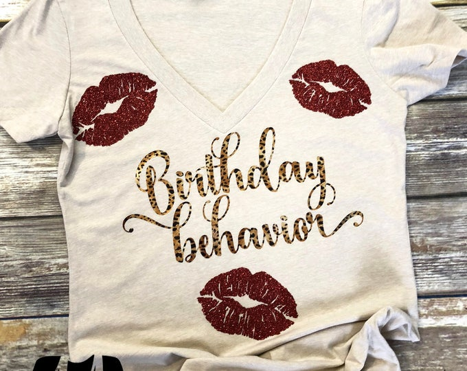 Birthday T-Shirt, Leopard Print Birthday Shirt with lips, Birthday Girl Shirt, 21st Birthday Shirt, Birthday Shirt, Birthday Girl