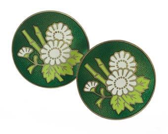 Green Cloisonne Flower Earrings