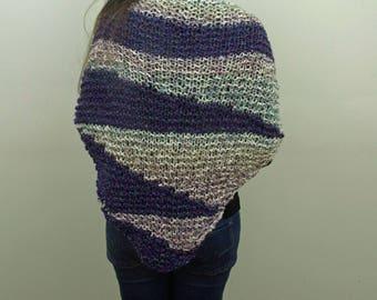 Hand-knitted Triangular Shawl in Dark Purple, Cream and Ocean colors