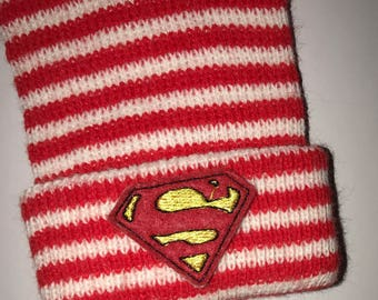 Newborn Hospital Hats. Exclusive To This Shop! Thicker Knit Red/White Hat w/Superhero. Baby's 1st Keepsakes! Newborn Hat