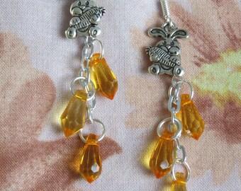 Whimsical earrings rabbit & carrots