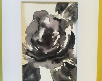Original, Set of 2, Black and White rose floral watercolor painting, rose art, rose watercolor, wall art