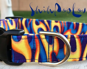 Flames in Motion Fire and Flames Adjustable Fabric Dog or Cat Collar (Matching Leash Available)