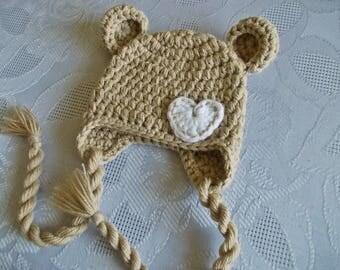 Baby bear hat Custom colors Newborn bear hat Baby hat with ears Baby animal hat Earflap bear hat Winter baby hat  Crochet bear hat