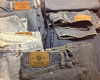 Denim Fabric Craft Pieces of Jeans Random Sizes Sewing Reuse Repurpose Recycle Upcycle Similar to Photo
