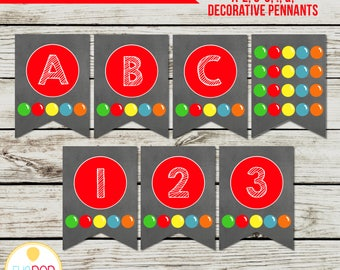 BOUNCE HOUSE Banner, Alphabet and Numbers, Jumping Birthday Party, Jump Party, Colorful, Chalkboard, Printable, Instant Download