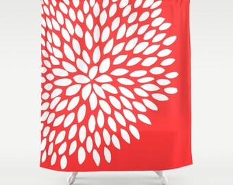 45 colors Dahlia Flower Shower Curtain, Flower Bathroom Decor, Floral Shower Curtain, Coral Pink Shower Curtain, Teen Girl Shower Curtain