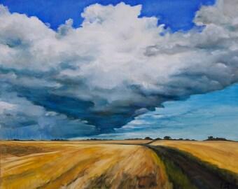 Oil Painting Waiting For Rain Original Artwork Scottish Landscape Wall Art Home Interior Decor 40x50cm
