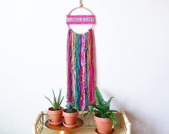 Fringe Wall Art, Boho Teen Room, Girl Dreamcatcher, Hippie Style Decor, Boho Decor, Bohemian Bedroom, Fringe Wall Decor, Jungalow Style