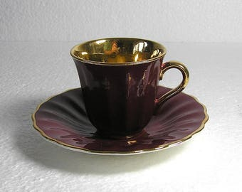 Art Deco Wade Royal Victoria Gold and Burgundy  Coffee  Cup and Saucer .Espresso Cup