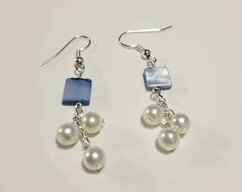 Elegant Blue Mother of Pearl and Pearl Dangle Earrings, Mother of Pearl Wedding Earrings, Wedding Jewelry, Something Blue Earrings