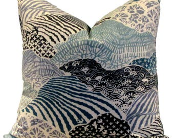 Robert Allen Pillow Cover Madcap Cottage Windsor Park Indigo