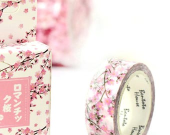 Washi tape, pink cherry blossoms