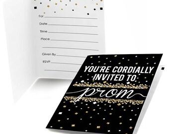 Prom Fill In Prom Night Invitations - School Dance Party Supplies - Junior or Senior Prom Fill In Invites - Black and Gold Glitter - 8 Ct.