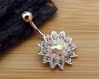 "14g  5/16"" (8mm) / Paved Gems Flower with Center CZ Rose Gold Plated on 316L Surgical Steel / Belly Button Ring"