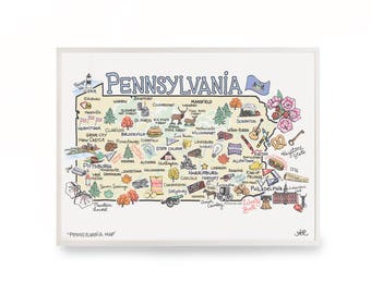 "Pennsylvania Map, 9""x12"" Pennsylvania Print, Pennsylvania Art, Unframed, Printed on watercolor paper"