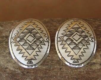 Navajo Artisan handmade Sterling Silver Post Earrings