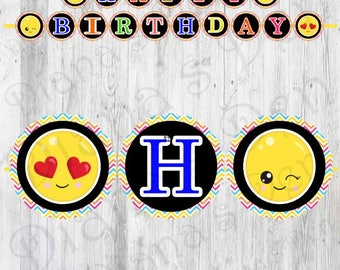 Emoji Banner/Emoji Birthday Banner/Emoji Flag/Emoji Pennant/Emoji Party Favor/Custom Emoji Banner/Emoji Party/Emojim Sign/Emoji Theme