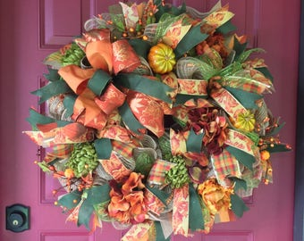 Elegant Fall Wreath, Fall Deco Mesh Wreath, Front Door Wreath for Fall, Autumn Wreath, Thanksgiving Wreath, Fall Decor, Autumn Decor