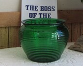 Emerald Green Glass Planter Beehive Florist Ware Vintage Planters and Pots