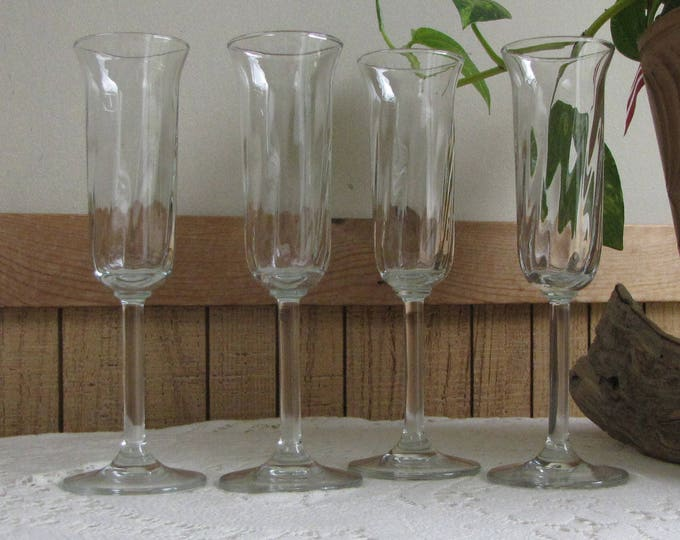 Swirled Champagne Flutes Set of Four (4) Vintage Barware