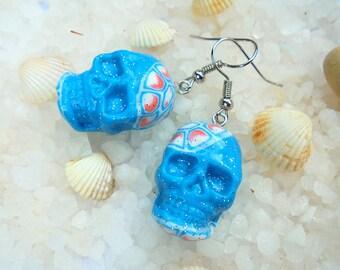 Blue skull earrings, Sugar skull earrings, Day of the dead earrings, Light blue skull earrings, Sugar skull jewelry, Dia de los muertos
