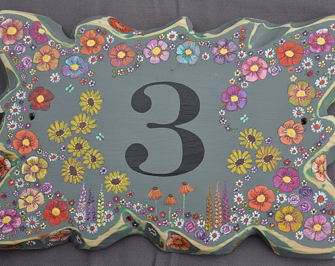 FREE UK SHIPPING Rustic Reclaimed Wood House Number Sign Coastal Grey with Hand Painted Country Cottage Flower Design Handcrafted to Order
