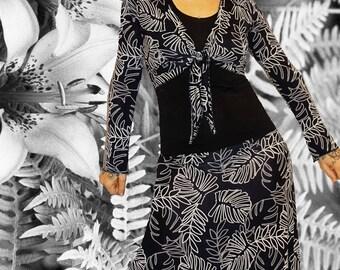 Long dress bolero 'Black and white Jungle...'