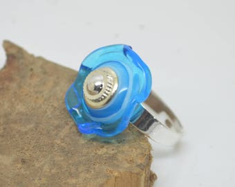 Silver glass Lampwork turquoise Adjustable ring