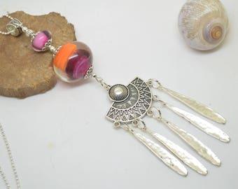 Necklace 76cm glass beads handmade Lampwork pink orange chain 925 Silver