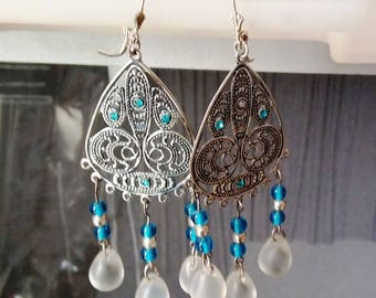 Blue and white chandelier earrings