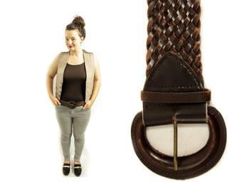 Vegan Leather belt, Braided belt, Woven belt, Brown belt, Hips belt, Womens belt, Wide belt, Buckle belt, Vintage belt, Bohemian belt