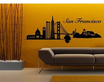 20% OFF Summer Sale San Francisco Skyline wall decal, sticker, mural, vinyl wall art